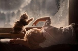 Niño con autismo mirando por la ventana junto a su gato