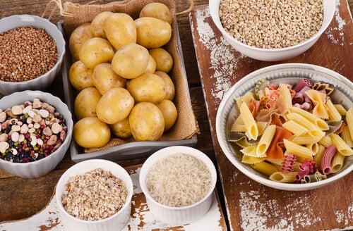 Patatas arroz y pasta