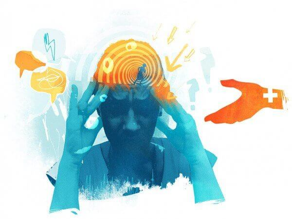 Persona preocupada con trastorno esquizoafectivo