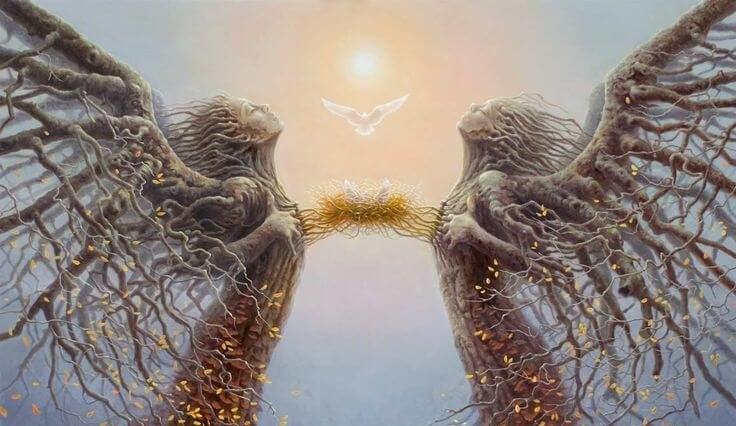 Personas unidas por un nido simbolizando empatía