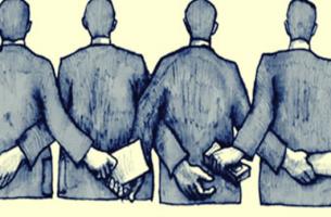 personas pasandose dinero representando la corrupción