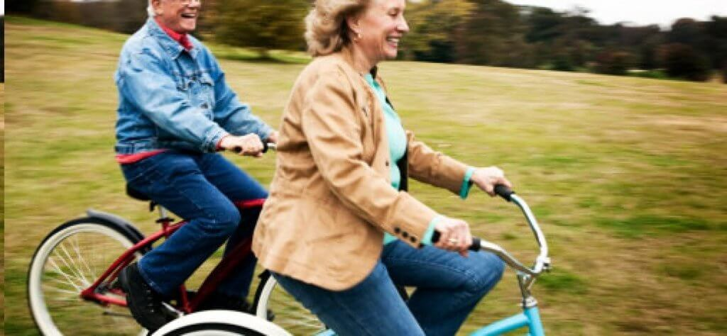 older people on bicycles