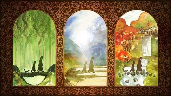 Triptico sobre el paso de la vida para representar los proverbios celtas