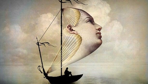 barco con vela en forma de rostro que evoca el efecto del ladrón juzga por su condición