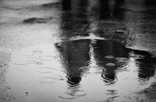 Charco de agua reflejando a dos personas mayores