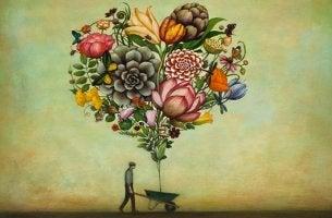 corazón formado por flores representando la neurobiología de la resiliencia