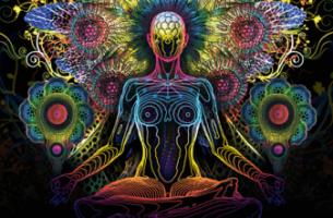 Figura de colores meditando