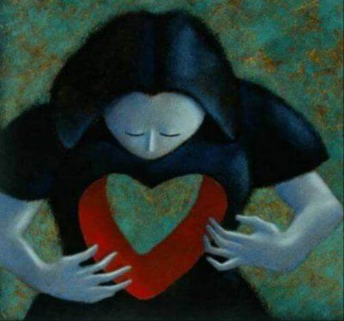 woman with heart shaped empty places