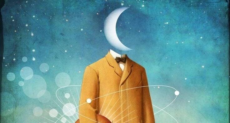 Hombre con cabeza de Luna representando la magia de las frases bonitas