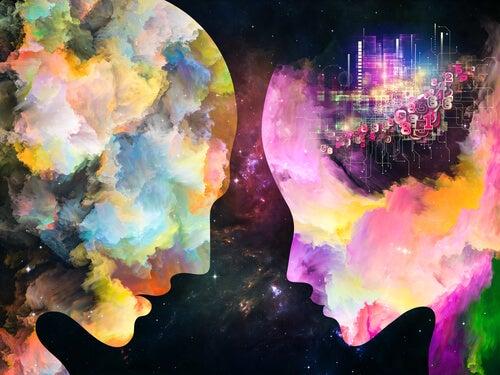 Hombre y mujer con colores para representar el despertar de la conciencia