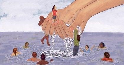 manos cogiendo personas simbolizando el exceso de empatía