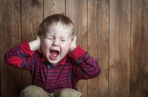Niño tapándose los oídos por una rabieta