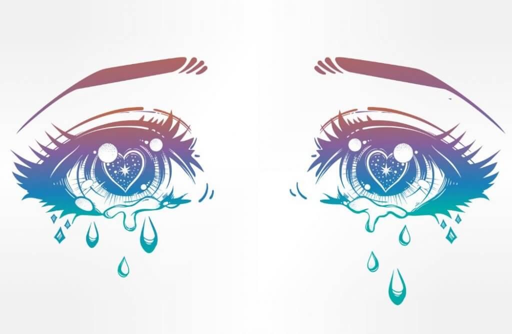 Ojos tristes con lágrimas
