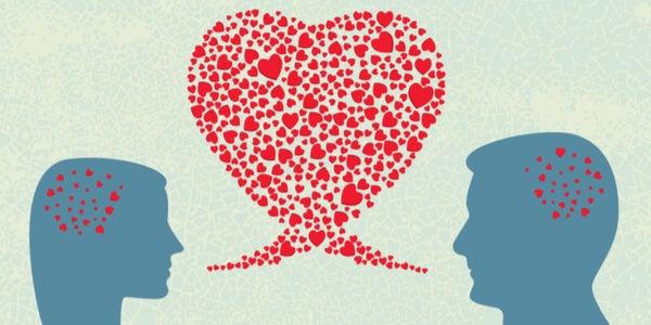 Pareja con corazones en su mente