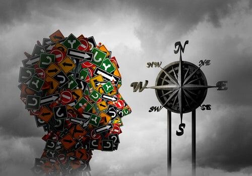 Perfil de una cabeza con diferentes señales