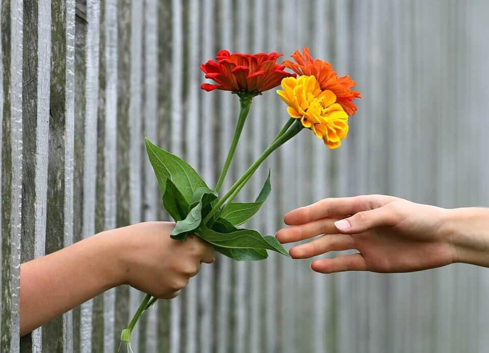 Persona regalanado flores