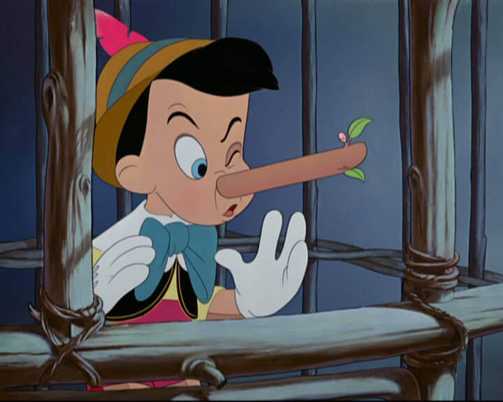 Pinocho con la nariz grande