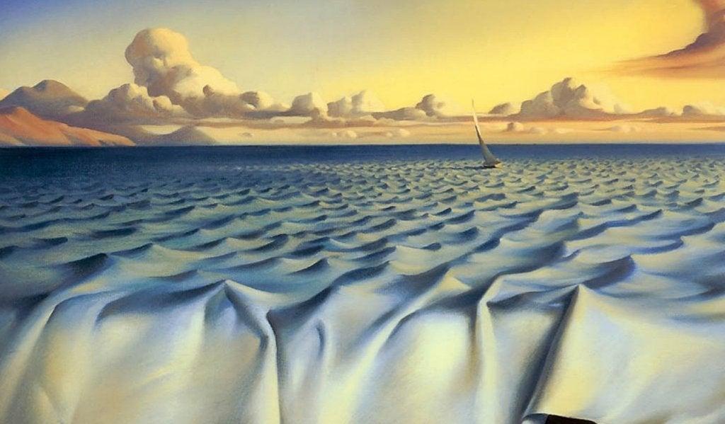 océano formado por sábana representando microrrelatos para imaginar y soñar