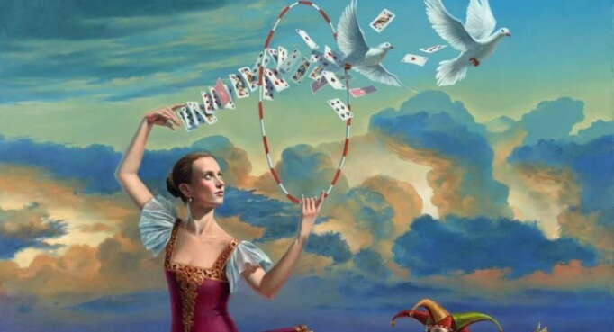 bailarina tirando cartas representando las frases de John Locke