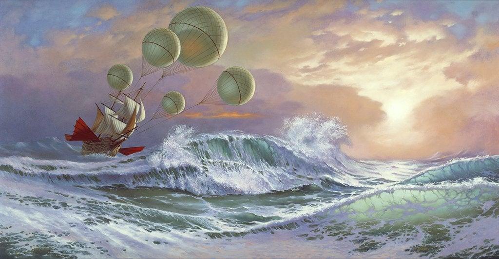 Barco no oceano agitado