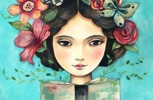 chica con flores representando las frases para superar la tristeza