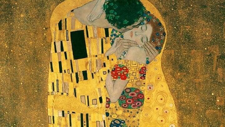 obra de Klimt representando la anatomía de un beso