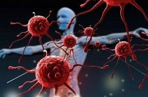 Glóbulos rojos y perfil de hombre