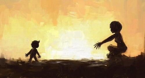 Hijo corriendo a brazos de su madre