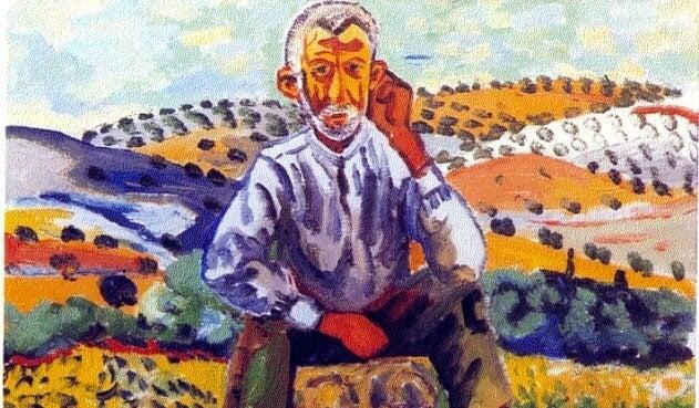 pintura de hombre en el campo representando la fábula de la oveja negra