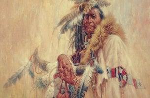 Indio americano que lucha contra el wetiko
