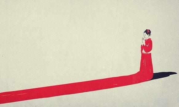 mujer de rojo representando la psicología japonesa