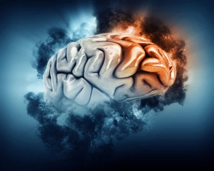 Lóbulo frontal iluminado representando la Epilepsia del lóbulo frontal