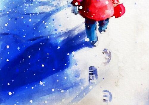Niña andando por la nieve