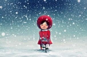 Niña bajo la nieve mirando una rosa