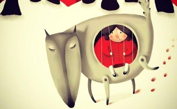 niña dentro de un lobo representando los efectos de la formación de nuestra autoestima