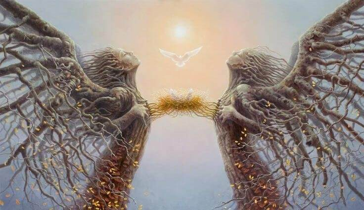 Personas con alas conectando a través de un nido