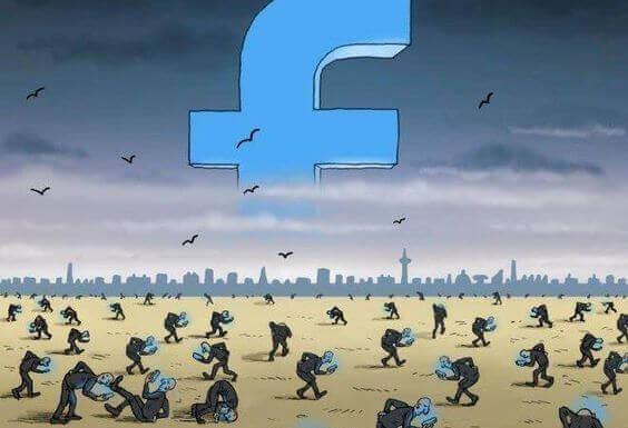 Símbolo de Facebook en grande