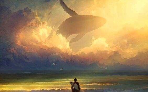 Hombre mirando ballena en el cielo preguntándose ¿Debo irme o debo quedarme?