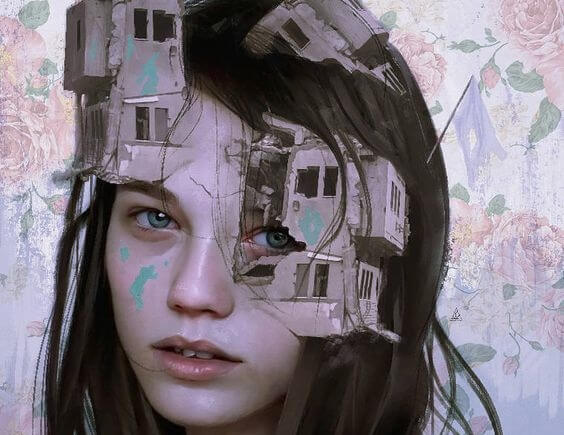 chica con casas destruidas que intenta incrementar la autoestima