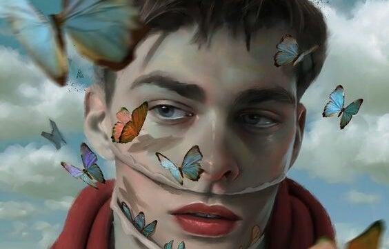 chico rodeado de mariposas que intenta incrementar la autoestima