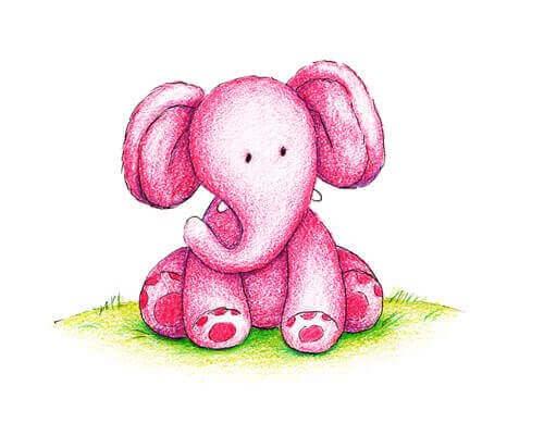 Elefante rosa pequeño