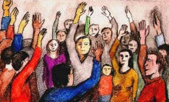 people raising hands: seven social sins.