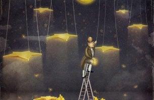 Hombre subiendo a las estrellas