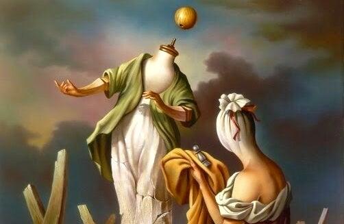 maniquí sin cabeza junto a mujer simbolizando el complejo de castración