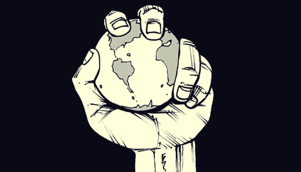 mano conteniendo planeta representando las frases de Michel Foucault