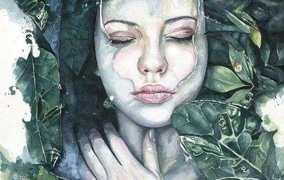 chica rodeada de hojas simbolizando a quienes no se dejan ayudar
