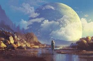 Mujer mirando a la luna para representar la utopía