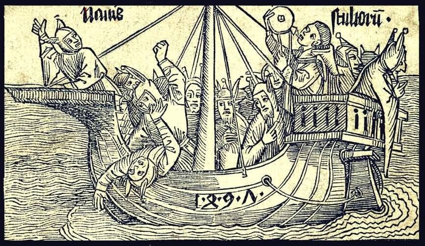grabado simbolizando el mito de la nave de los locos