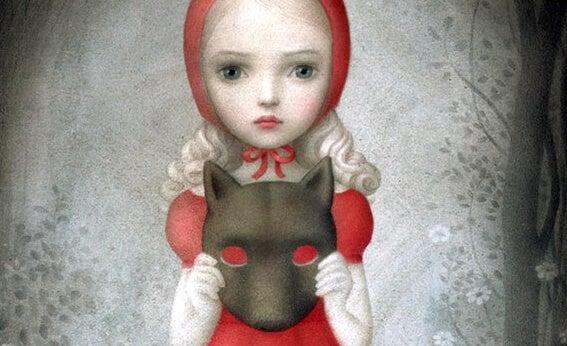 Niña con máscara de lobo
