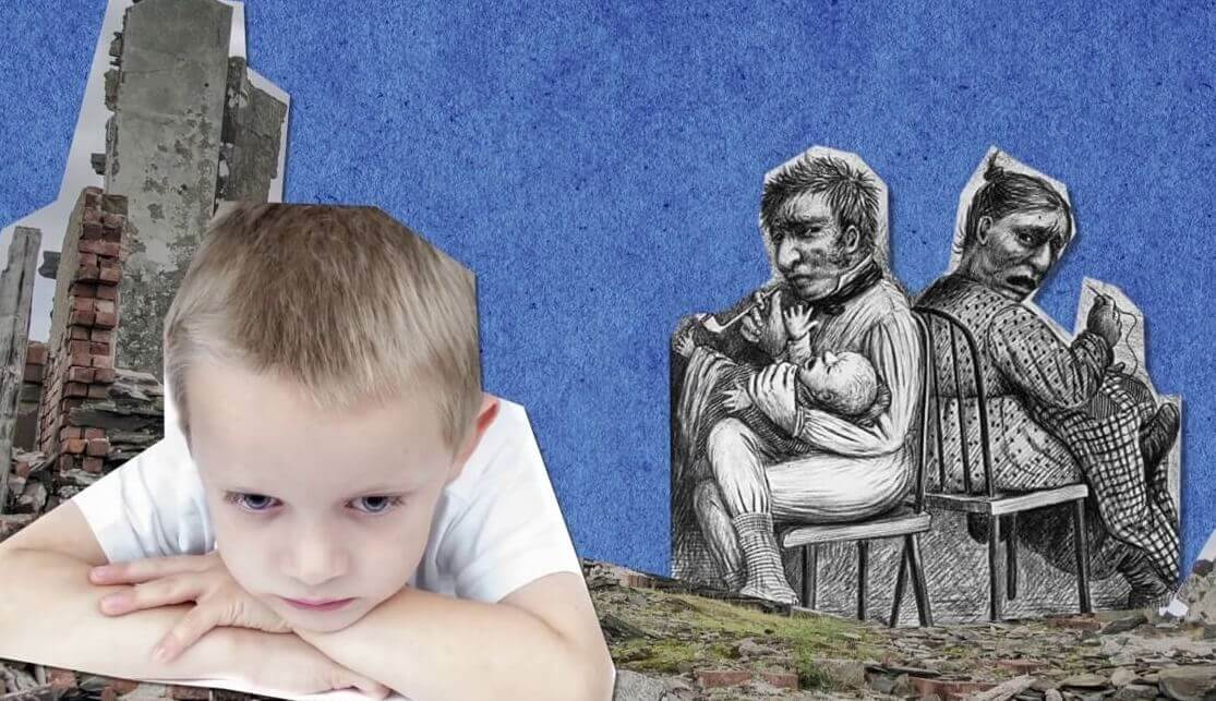 Niño pensando en sus padres